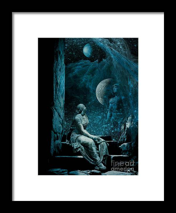 Blue Framed Print featuring the digital art Waiting Hermes For by Pavlos Vlachos