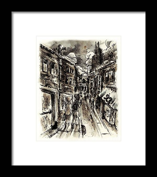 City Framed Print featuring the painting Walkin In The City by William Russell Nowicki