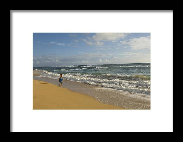 One Woman Framed Print featuring the photograph Walking In The Water At Anahola Beach by Bill Hatcher