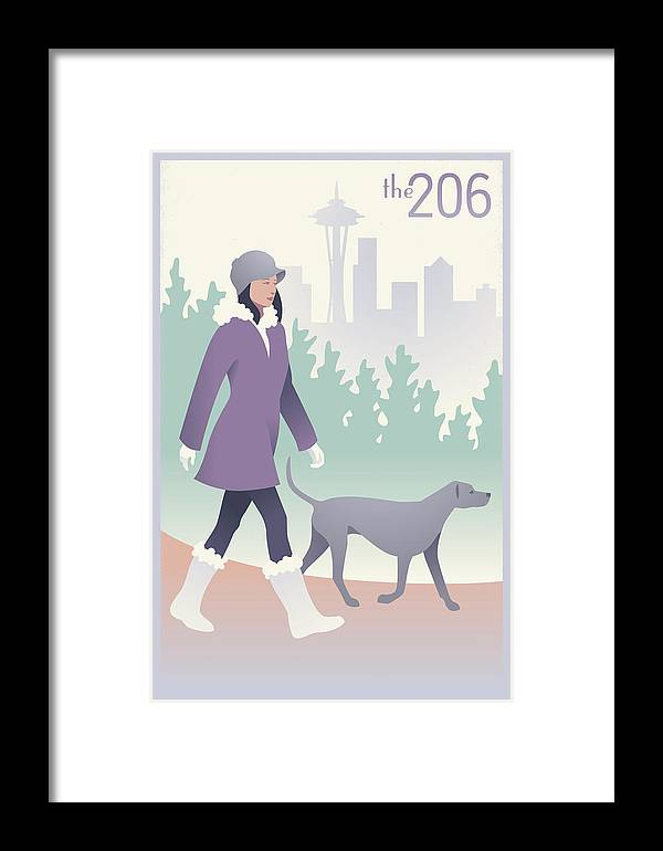 Seattle Framed Print featuring the digital art Walking The Dog In Seattle by Mitch Frey