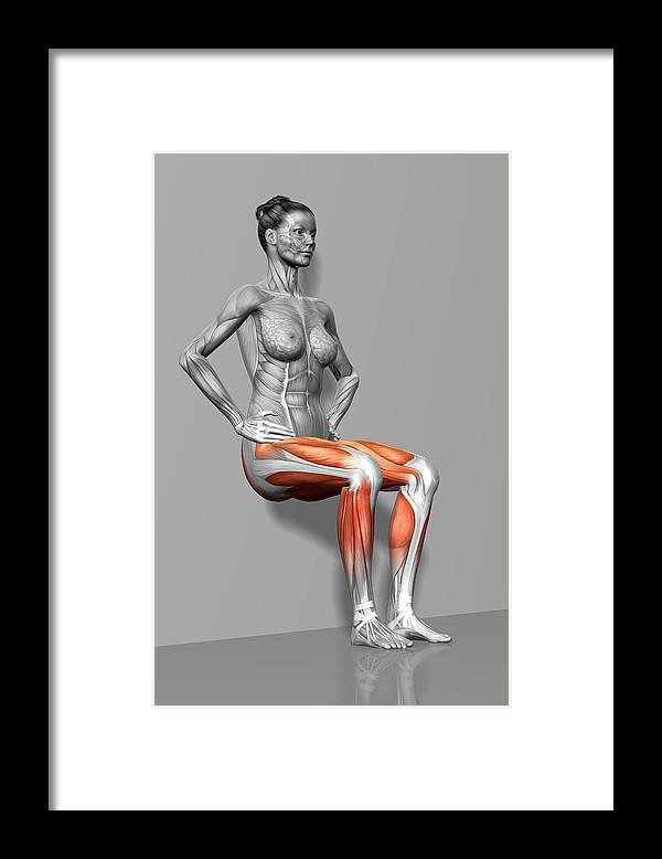 Vertical Framed Print featuring the photograph Wall Sit Exercise by MedicalRF.com