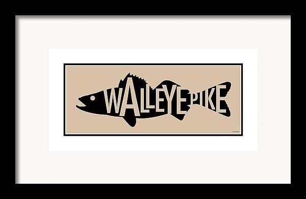 Walleye Framed Print featuring the digital art Walleye Pike by Geoff Strehlow
