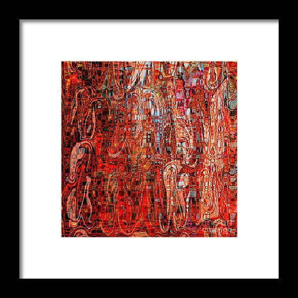 Red Framed Print featuring the digital art Warm Meets Cool - Abstract Art by Carol Groenen