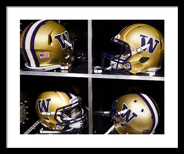 Replay Photos Framed Print featuring the photograph Washington Huskies Football Helmets by Replay Photos