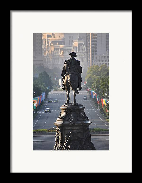 Philadelphia Framed Print featuring the photograph Washington Looking Down The Parkway - Philadelphia by Bill Cannon