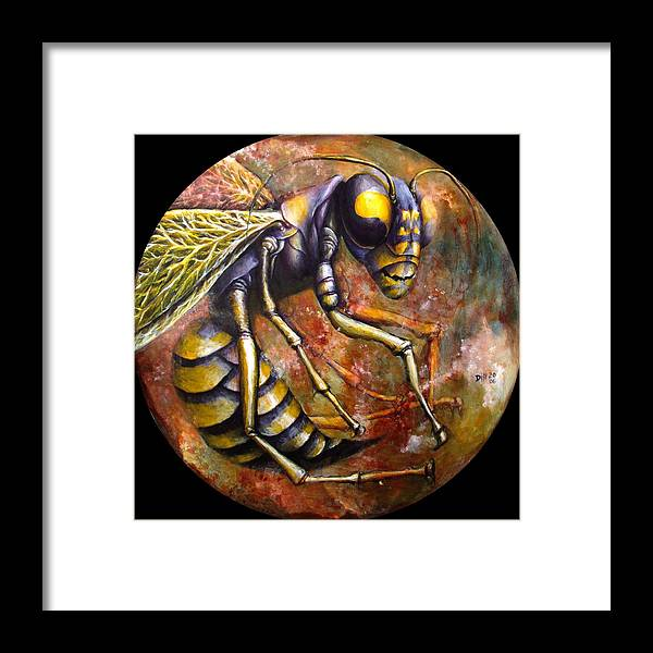 Wasp Insect Bug Amber Brown Framed Print featuring the painting Wasp by Rust Dill