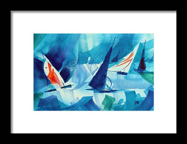 Sailboat Abstract Framed Print featuring the painting Watch Those Whitecaps. by Josh Chilton