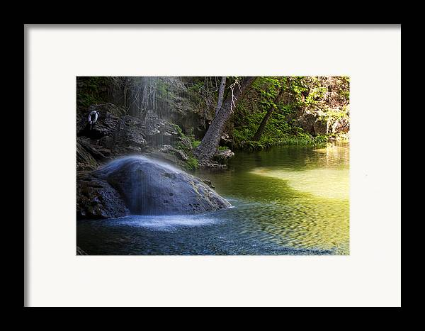 Waterfall Framed Print featuring the photograph Water Falling On Rock by Lisa Spencer