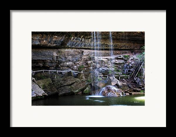 Water Framed Print featuring the photograph Water Flow Over A Rock At Hamilton Pool by Lisa Spencer
