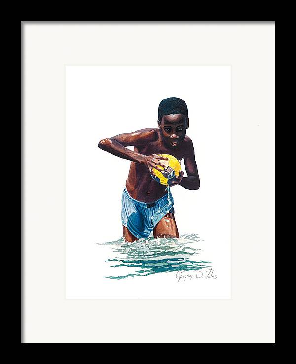 Boy Framed Print featuring the painting Water Game by Gregory Jules