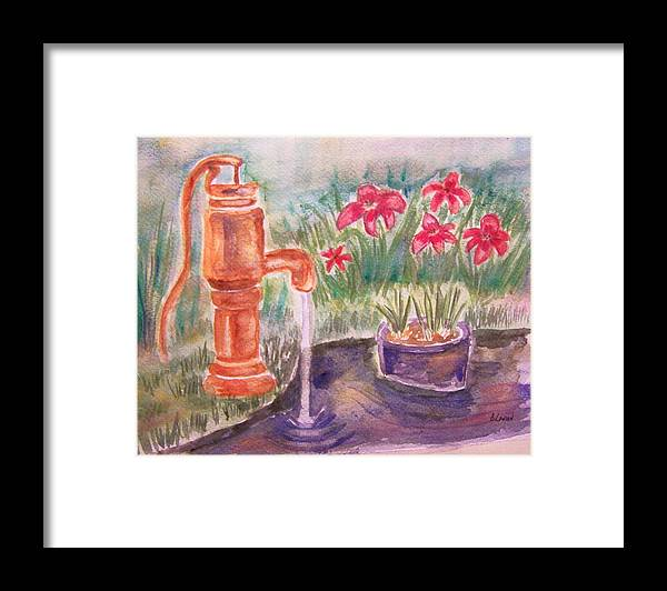 Water Pump Framed Print featuring the painting Water Pump by Belinda Lawson