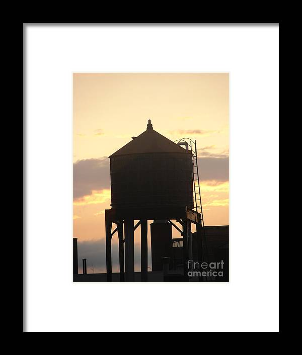Water Framed Print featuring the photograph Water Tower At Sunset by Artie Wallace
