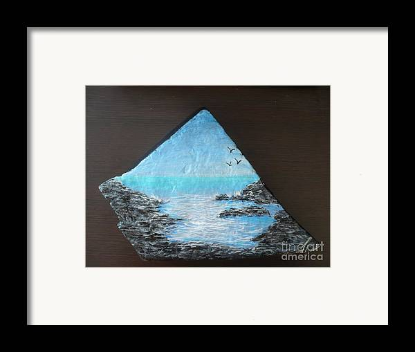 Rock Framed Print featuring the painting Water With Rocks by Monika Shepherdson