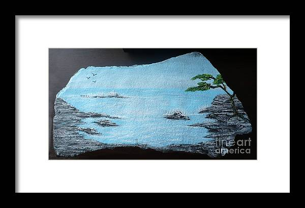 Rock Framed Print featuring the painting Water With Tree by Monika Shepherdson