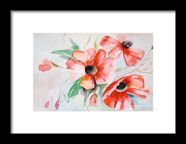 Backdrop Framed Print featuring the painting Watercolor Poppy Flower by Regina Jershova