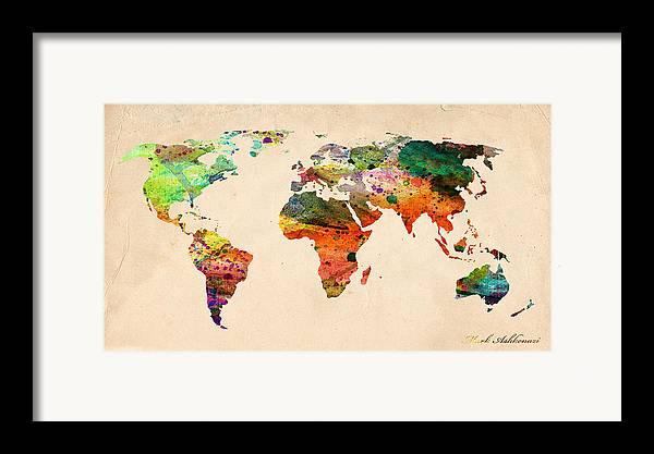 Landmark Framed Print featuring the digital art Watercolor World Map by Mark Ashkenazi