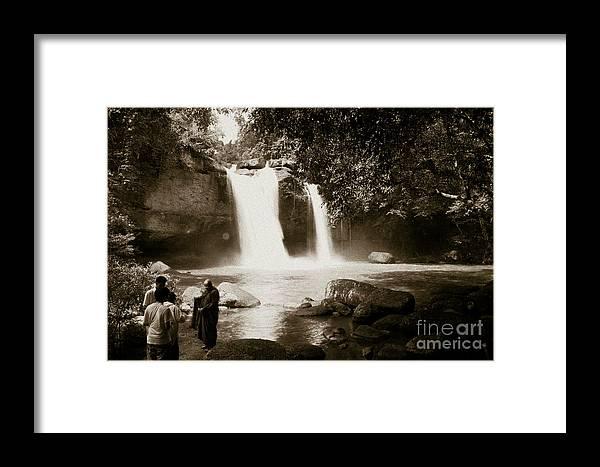 Waterfall Framed Print featuring the photograph Waterfall by Chatchai Piansangsan