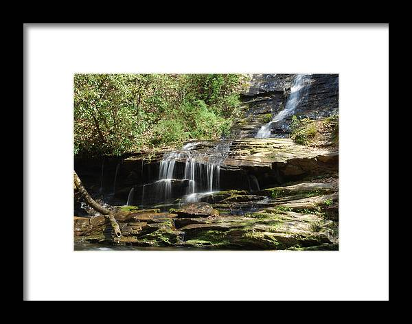 Waterfall Framed Print featuring the photograph Waterfall Over Rocks by Carrie Munoz