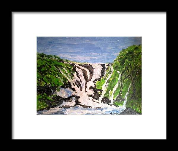 Landscape Framed Print featuring the painting Waterfall by Rajan Panse