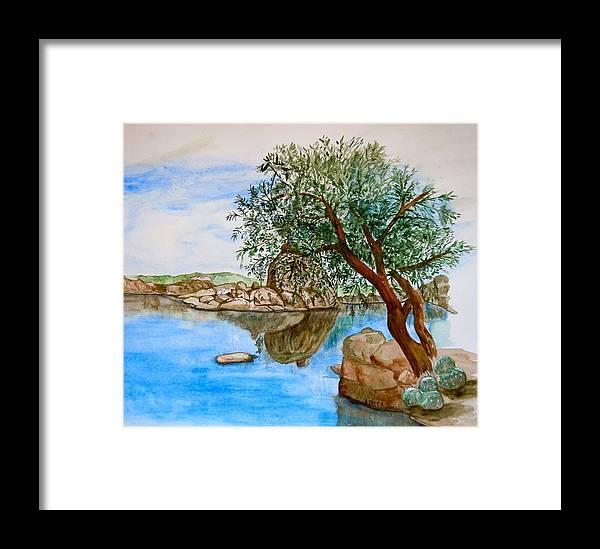Watson Lake Prescott Arizona Peaceful Waters Framed Print featuring the painting Watson Lake Prescott Arizona Peaceful Waters by Sharon Mick