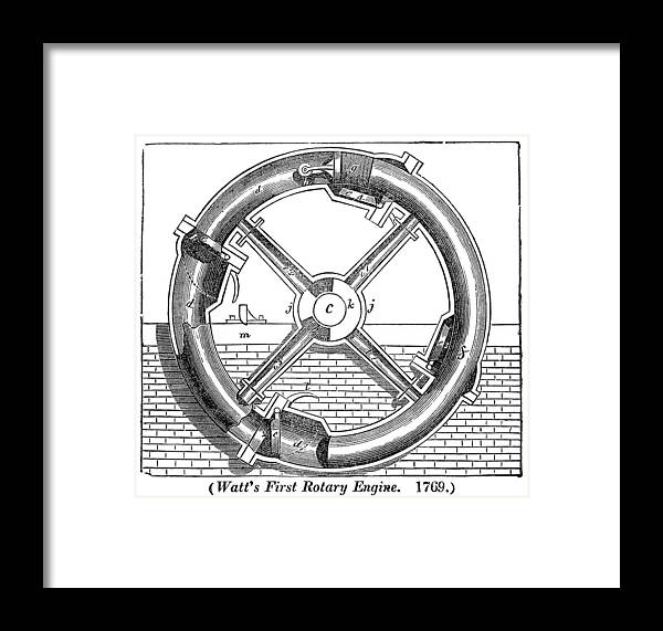 Watt Framed Print featuring the photograph Watt's Rotary Engine by Science, Industry & Business Librarynew York Public Library