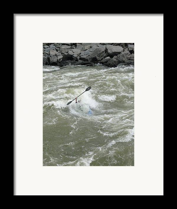 Under Water Framed Print featuring the photograph Wave Surfing Kayaker Goes Underwater by Skip Brown
