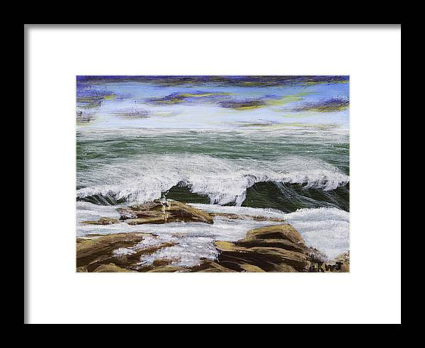Art Framed Print featuring the painting Waves And Rocks Maine Seascape Painting by Keith Webber Jr