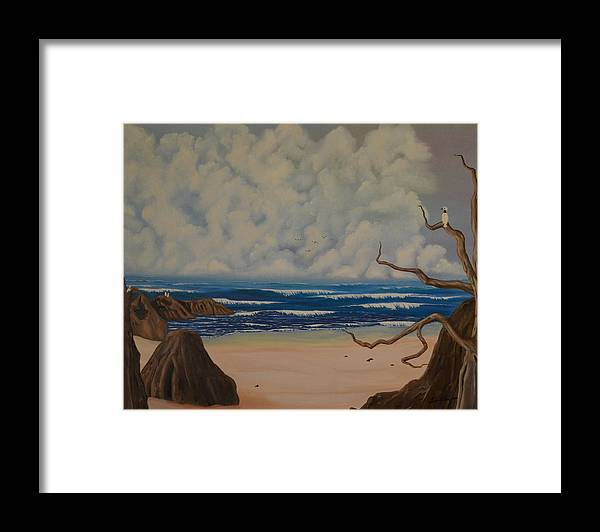 Waves--water-clouds-beach-birds-sand-tree-storms Framed Print featuring the painting Waves by Gwen Albee