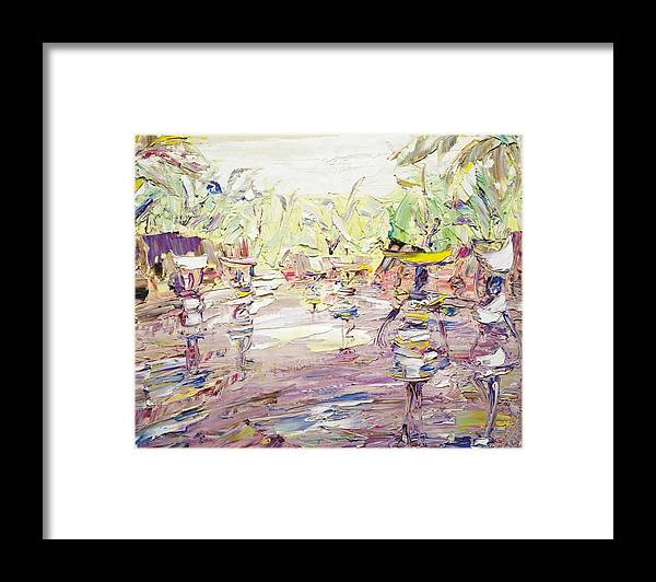 Village Framed Print featuring the painting Way To The Stream by Bob Usoroh