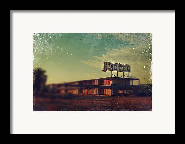 Motel Framed Print featuring the photograph We Met At The Old Motel by Laurie Search