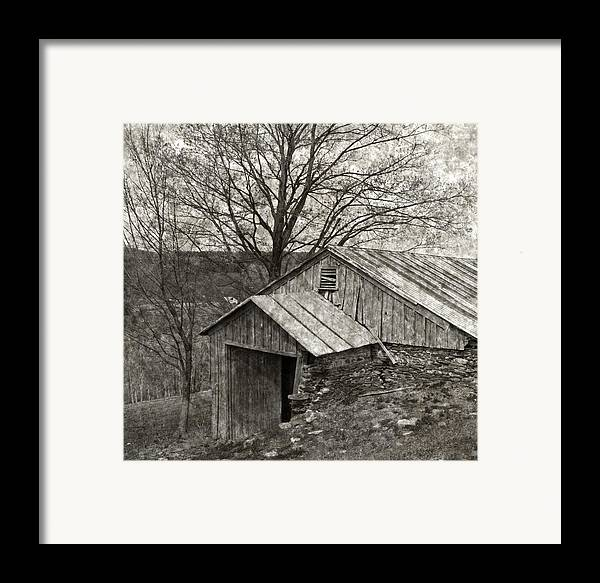 Tin Framed Print featuring the photograph Weathered Hillside Barn by John Stephens