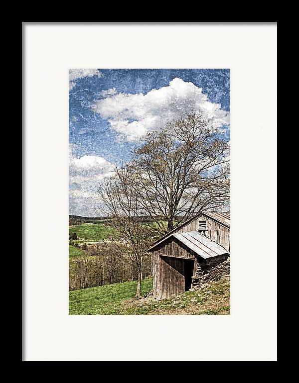 Tin Framed Print featuring the photograph Weathered Hillside Barn Spring by John Stephens