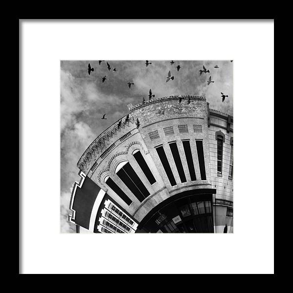 Bryan Framed Print featuring the digital art Wee Bryan Texas Detail In Black And White by Nikki Marie Smith