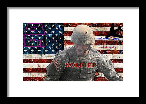 Soldier Framed Print featuring the digital art Welcome Home by Terri Mertz