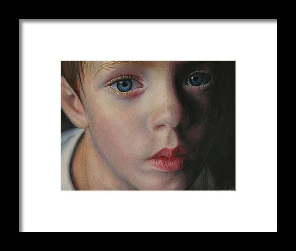 Boy Framed Print featuring the drawing Well by Brian Scott
