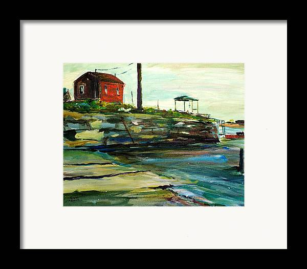 Wells Harbor Framed Print featuring the painting Wells Harbor Maine by Scott Nelson