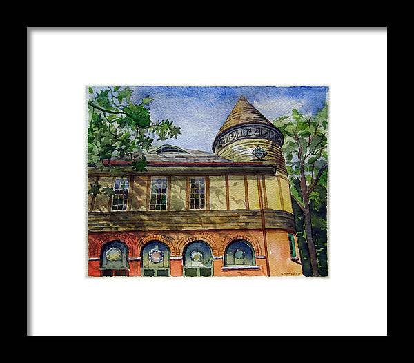 Landscape Framed Print featuring the painting West Chester Library by Michael Stancato