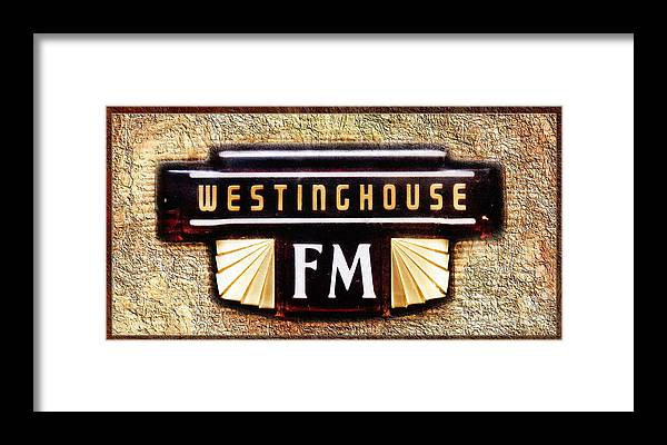 Antique Stereo Framed Print featuring the photograph Westinghouse Fm Logo by Andee Design