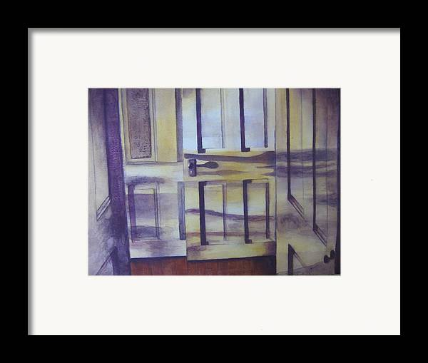 indoor Still Life Framed Print featuring the painting When One Door Closes by Patsy Sharpe