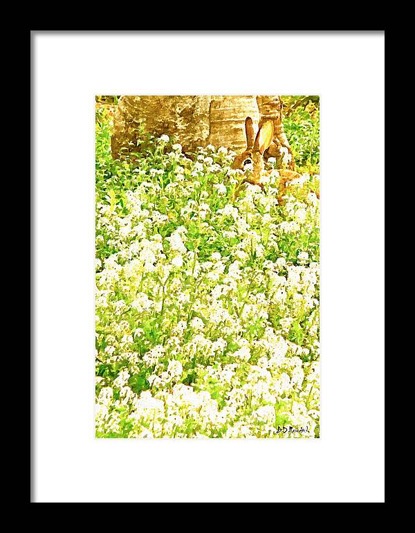 Wildlife Framed Print featuring the painting Where's That Wabbit? by Brian D Meredith