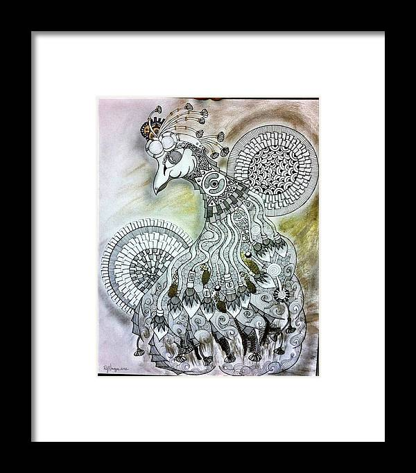 Sea Framed Print featuring the drawing Whimsypunk Peacock by Raquel Sturges