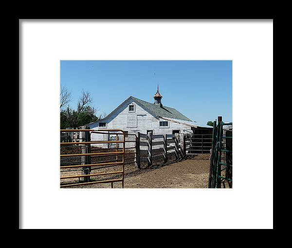 White Framed Print featuring the photograph White Barn And Corrals by Bobbylee Farrier