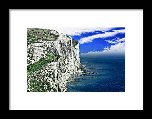 White Framed Print featuring the photograph White Cliffs Of Dover by Wendy White