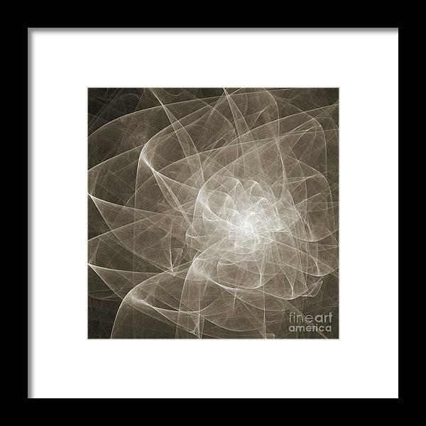 Fine Art Framed Print featuring the digital art White Fractal Flower by Andee Design
