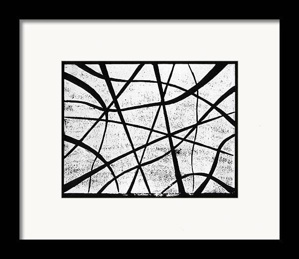 Linocut Framed Print featuring the painting White On Black by Hakon Soreide