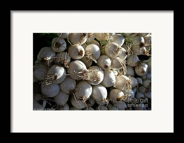 Food Framed Print featuring the photograph White Onions by Susan Herber