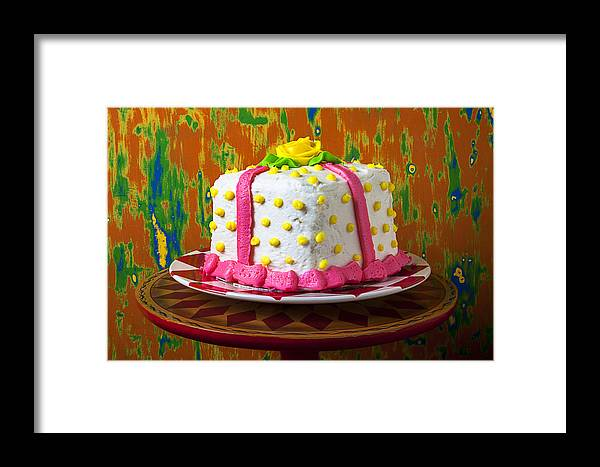 White Framed Print featuring the photograph White Present Cake by Garry Gay