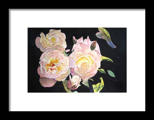 White Framed Print featuring the painting White Roses by Donna Walsh