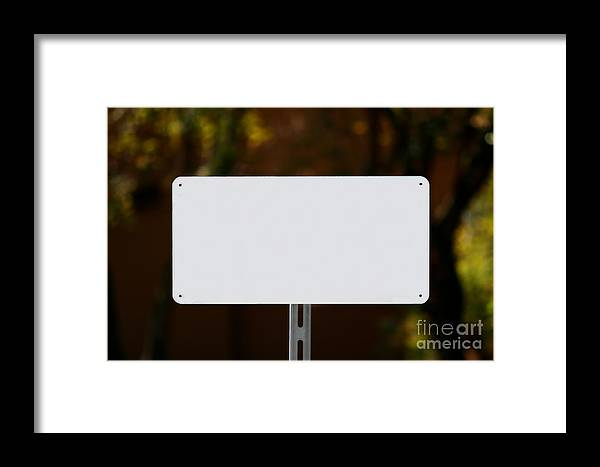 White Framed Print featuring the photograph White Sign by Henrik Lehnerer