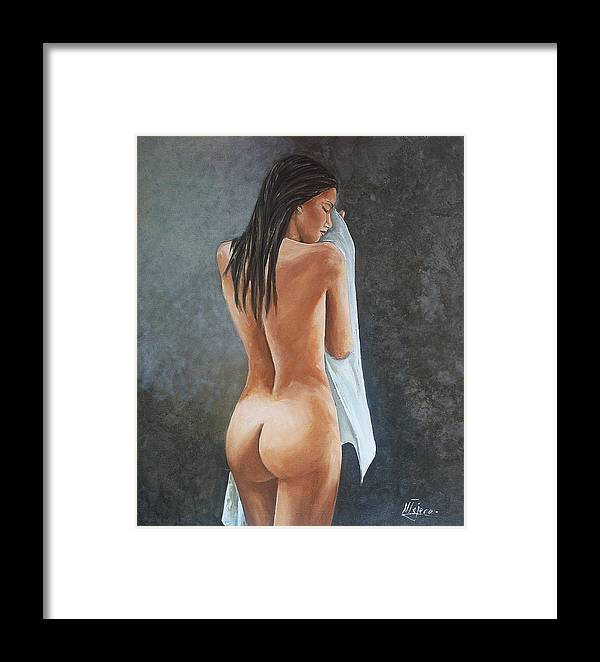 Nude Framed Print featuring the painting White Towel by Natalia Tejera